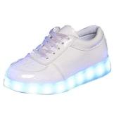 Gaorui Unisex Kinder Jungen Mädchen LED Schuhe mit USB Sportschuhe Sneakers Rosa Weiß - 1