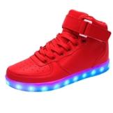 [ Kinder Led Schuhe ] 7 Farbe USB Aufladen LED Leuchtend Sport Schuhe Sneaker für Unisex Kinder Schuhe High Top Flash-Turnschuhe - 1