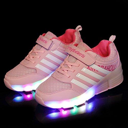 Kischers Kinderschuhe LED Leuchtende Bunte Licht Heelys Sportschuhe Mit Rollen für Mädchen Jungs (EUR 30, Rosa) - 5