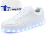 (Present:small towel)Weiß EU 36, Sneaker Leuchtend Turnschuhe USB Schuhe Damen Farbe Aufladen Herren Kinder weise 7 für Unisex-Erwachsene Sportsch - 1