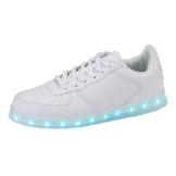 SKUTARI LED Leuchtende Blink Sport Schuhe Party Sneaker 7 Farben 4 Farbabläufe USB Unisex Herren Damen Versand aus DE , ( Weiß , Größe 39 ) - 1